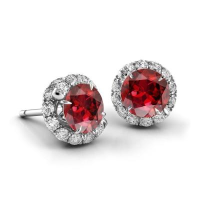 Swirl Ruby Diamond Earrings