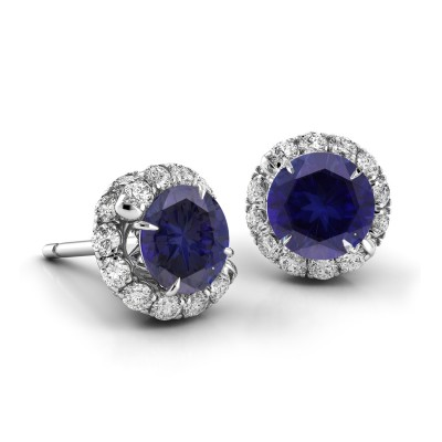 Swirl Blue Sapphire Diamond Earrings