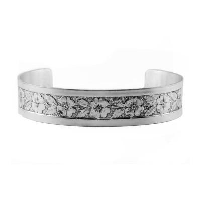 Vintage | Engraved Bracelet | Die Struck | Gold Silver | Floral