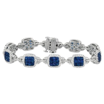 Precious Trends White Gold Diamond and Sapphire Bracelet