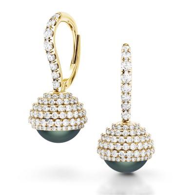 Limited Edition Black Pearl Diamond Earrings