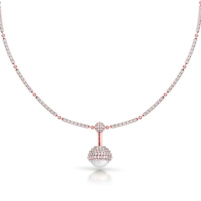Limited Edition Rose Gold and Pearl Diamond Pendant